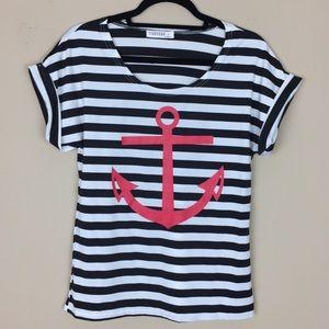 Tops - NWOT Black Striped Nautical Striped Top